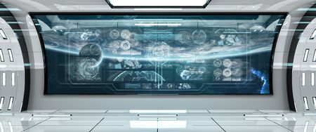 White spaceship interior in space with control panel digital screens 3D rendering
