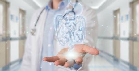 Gastroenterólogo sobre fondo borroso mediante radiografía digital de proyección de exploración holográfica de intestino humano 3D rendering