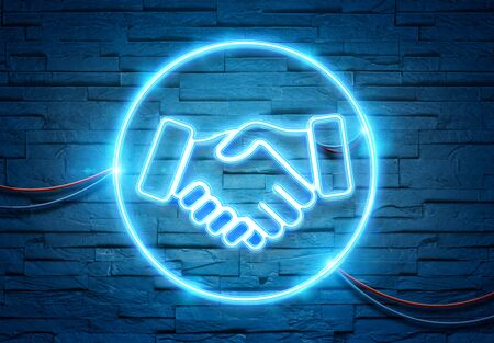Handshake neon tubes icon illuminating a brick wall with blue and pink glowing light 3D rendering Stock Photo