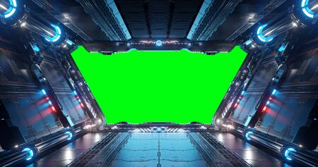Blue and red futuristic spaceship interior with green window screen 3d rendering