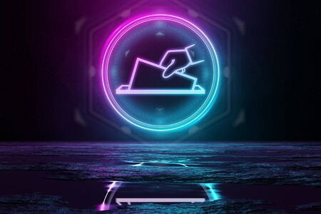 Digital vote holographic icon in circle illuminating the floor with blue and pink neon light 3D rendering Stock Photo