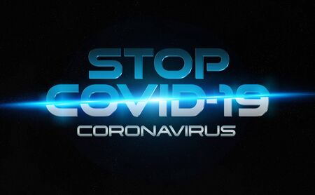 Covid-19 text breaking news style. Stop coronavirus concept. New disease discovered in 2019 spreading now globally. Quarantine and confinement advices