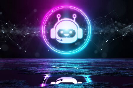 Digital chatbot holographic icon in circle illuminating the floor with blue and pink neon light 3D rendering