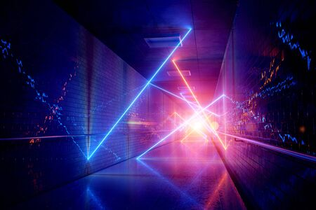 Glowing blue and orange neon light tubes in long dark underground tunnel reflecting on walls and floor abstract background 3D rendering