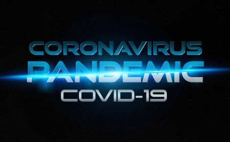 Coronavirus Covid-19 text breaking news style. 2019-nCoV official name introduced by World Health Organization. New disease discovered in 2019 spreading now globally. Pandemic concept Banco de Imagens