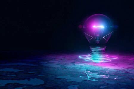 Lightbulb illuminating reflecting floor with blue and pink neon glowing light 3D rendering
