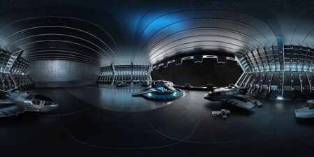 High resolution HDRI panoramic view of a dark blue futuristic landing strip spaceship interior. 360 panorama reflection mapping of a huge shed interior 3D rendering Banco de Imagens