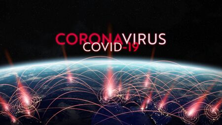 Coronavirus Covid-19 pandemic spreading in the world between countries and infecting population 3D rendering elements of this image furnished by NASA