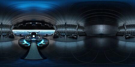 High resolution HDRI panoramic view of a dark blue futuristic landing strip spaceship interior. 360 panorama reflection mapping
