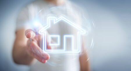 Man on blurred background using real estate digital neon interface 3D rendering Banco de Imagens