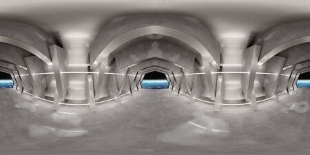 High resolution HDRI panoramic of a futuristic interior looking like a spaceship. 360 panorama reflection mapping of a huge shed interior. 3D rendering elements. Banco de Imagens
