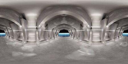 Panorámica HDRI de alta resolución de un interior futurista que parece una nave espacial. Mapeo de reflexión panorámica 360 del interior de un enorme cobertizo. Elementos de renderizado 3D. Foto de archivo