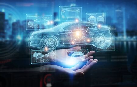 Man hand on dark background holding and touching holographic smart car interface projection 3D rendering