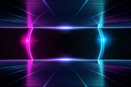 Abstract background pathway corridor leading to blue and pink neon light circle reflecting on a metallic floor 3D rendering