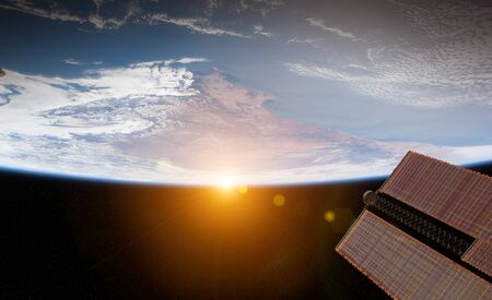 View of blue planet Earth from a space station window during a sunrise 3D rendering