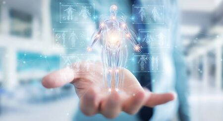 Man on blurred background using digital x-ray human body holographic scan projection 3D rendering Imagens