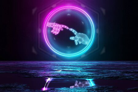 Robot hands touching each other illuminating the floor with blue and pink neon light 3D rendering