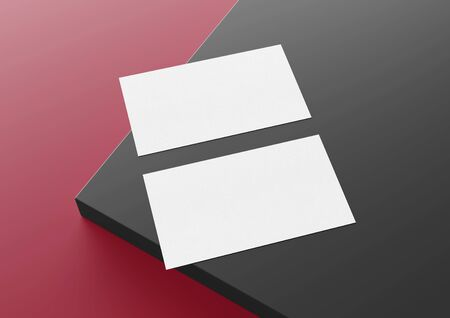 Two white US business card Mockup laying on red and grey background. American size calling card front and back laying on colored surface 3D rendering