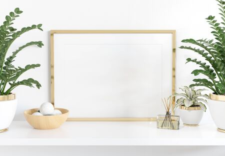 Golden frame leaning on white shelve in bright interior with plants and decorations mockup 3D rendering