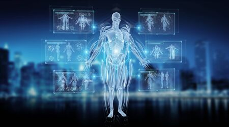Digital x-ray human body holographic scan projection on dark blue background 3D rendering 스톡 콘텐츠