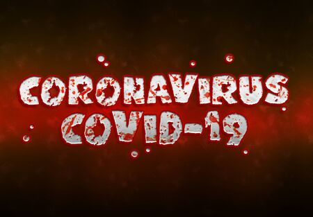 Coronavirus Covid-19 text in red bloody style. New respiratory syndrome disease discovered in 2019 spreading pandemic. 2019-nCoV official name introduced by World Health Organization. Archivio Fotografico