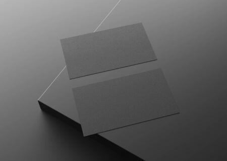 Two black US business card Mockup on black background. American size calling card front and back laying on empty surface 3D rendering