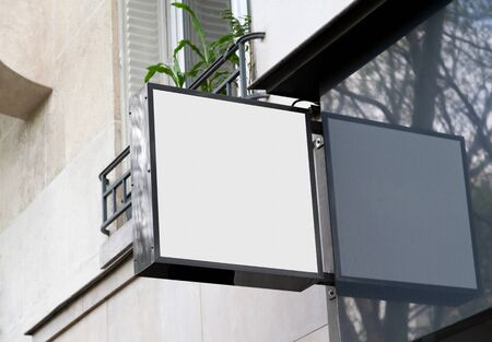 White store brand sign board mockup. Empty squared shop frontage in street Archivio Fotografico