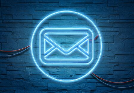 Email neon tubes icon illuminating a brick wall with blue and pink glowing light 3D rendering
