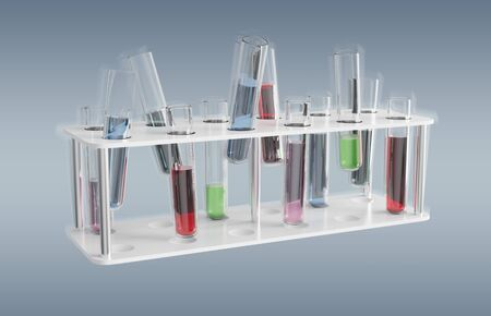 Floating medical analysis in tubes samples on grey background 3D rendering