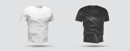 Isolated t-shirt with shadow Mockup. Blank jersey on white background Archivio Fotografico