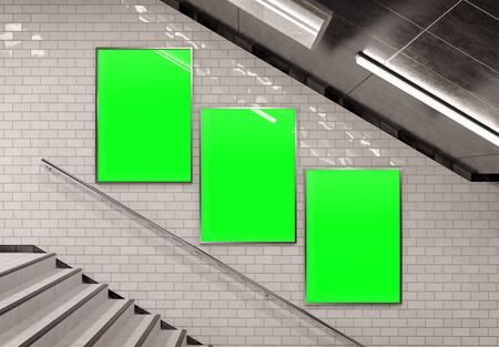 Three vertical billboards on underground stairs wall Mockup. Triptych hoardings advertising in white tiles reflecting tunnel interior. 3D rendering Archivio Fotografico