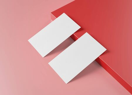 Two white US business card Mockup laying on red background. American size calling card front and back laying on colored surface 3D rendering Archivio Fotografico