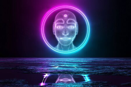 Robot head hologram in circle illuminating reflecting floor with blue and pink neon light 3D rendering Archivio Fotografico