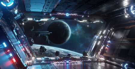 Blue and red futuristic spaceship interior with window view on distant planets system 3d rendering