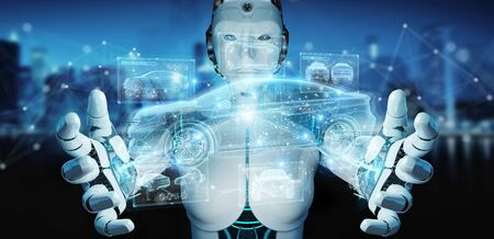 Robot on blurred background holding and touching holographic smart car interface projection 3D rendering