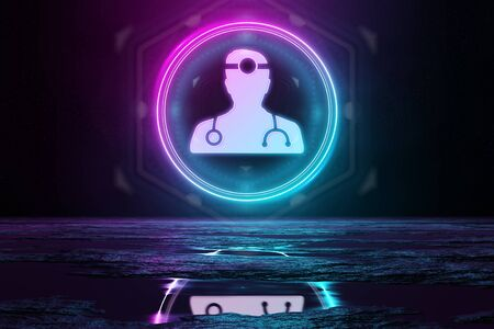 Digital medical holographic icon in circle illuminating the floor with blue and pink neon light 3D rendering Archivio Fotografico
