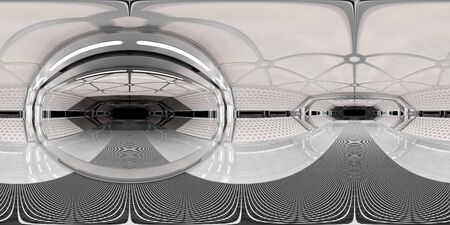 High resolution HDRI panoramic view of bright white spaceship interior. 360 panorama reflection mapping of a futuristic spacecraft room 3D rendering