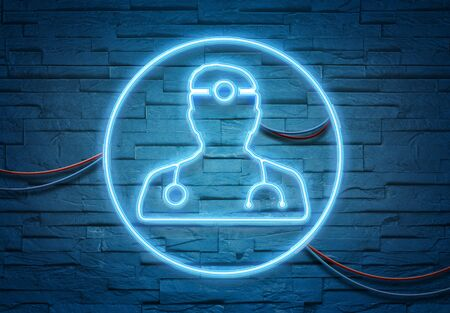 Doctor neon tubes icon illuminating a brick wall with blue and pink glowing light 3D rendering