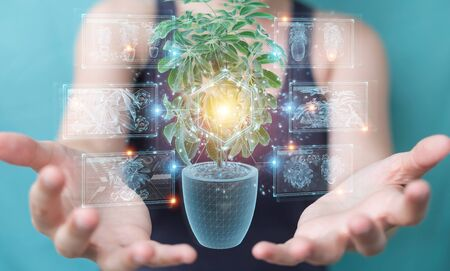 Woman on blurred background holding and touching holographic projection of a plant with digital analysis 3D rendering