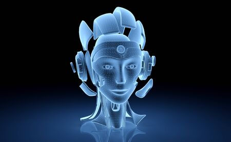 Artificial intelligence holographic projection with robot head on blue background 3D rendering Archivio Fotografico