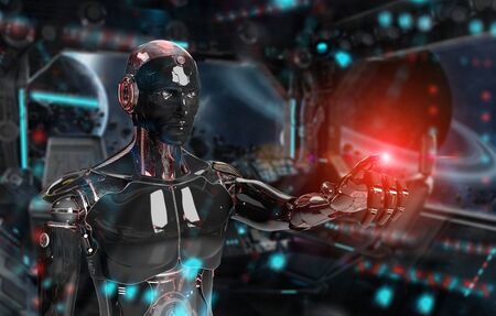 Black and red intelligent robot cyborg pointing finger on dark background 3D rendering