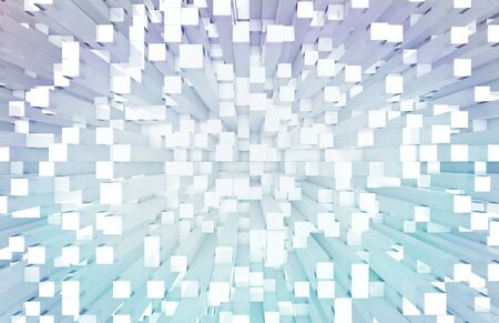 Glowing white and blue abstract squares background pattern 3D rendering