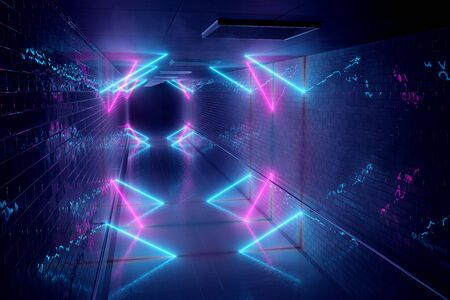 Glowing blue and pink neon light tubes in long dark underground tunnel reflecting on walls and floor abstract background 3D rendering