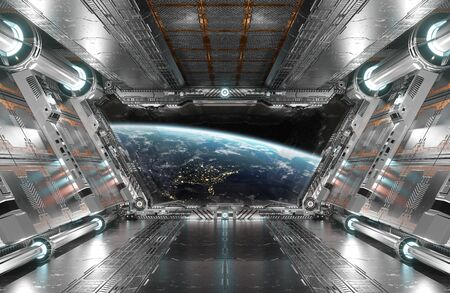 White and silver futuristic spaceship interior with window view on planet Earth 3d rendering