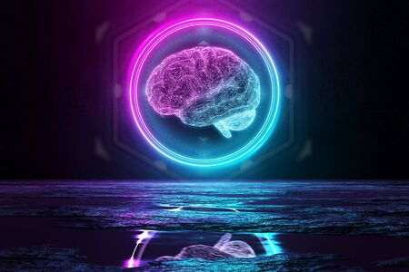 Digital brain holographic icon in circle illuminating the floor with blue and pink neon light 3D rendering Archivio Fotografico