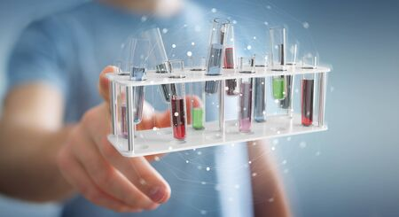 Man on blurred background holding and touching medical analysis in tubes samples 3D rendering
