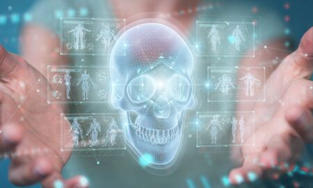 Woman on blurred background using digital x-ray skull holographic scan projection 3D rendering