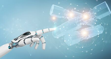 Robot hand on blurred background holding and touching green renewable energy battery 3D rendering Archivio Fotografico