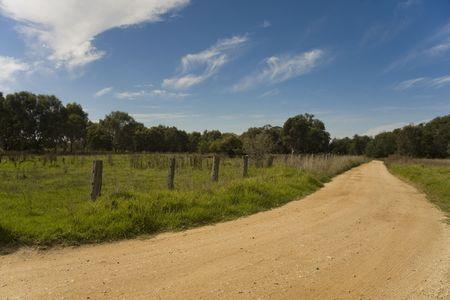 Dirt road under blue sky photo
