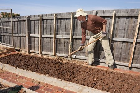 Man forking garden bed before planting Stock Photo - 5636000